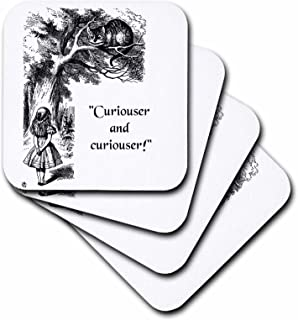 3dRose CST_193785_1 Curiouser and Curiouser Alice in Wonderland Lewis Carroll Quote Soft Coasters (Set of 4)