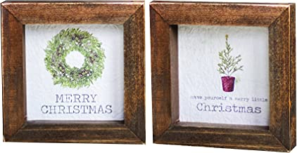 CWI Gifts 2/Set, Framed Watercolor Christmas Art Blocks, Wreath and Tree, Multicolored