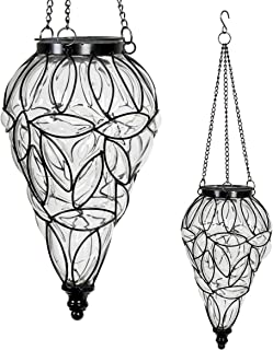 Exhart Clear Solar Lantern – Glass Tear-Shaped Hanging Lantern – Teardrop Glass Ceiling Lantern Hangs in a Metal Cage w/ 12 Blue LED Firefly Solar Lights 7