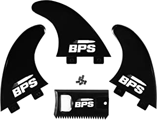 BPS Fiberglass Reinforced Surfboard Fins (3) + FCS Screw Hardware and Wax Comb! Glass Flex Thruster Surf Fin Set (FCS G5 M5 Style) Black - Tri Fin Thruster Set Surfboard fins FCS fins Surfboard