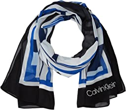 Calvin Klein - Grids and Stripes Chiffon Scarf