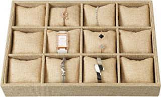 Watch Jewelry Tray Organizer Showcase Display Box Holder Storage Stackable Sackcloth Burlap Linen 12 Grid Pillows for Watches Bracelets
