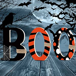 Halloween Table Decorations Boo Black Orange Wood Sign Decor Halloween Table Centerpieces Wooden Halloween Boo Letters with Spooky Spider Web for Halloween Home Table Tiered Tray Room Decor