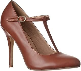 Women's Sadie Round Toe T-Strap High Heel Pumps