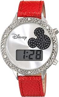 Disney Women's MK1038 Mickey Mouse Digital Silver Dial Red Lizard Watch