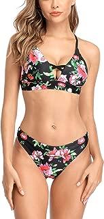 Lace-up Bikini Swimsuit for Women Floral Bikini Set with Reversible Bottom