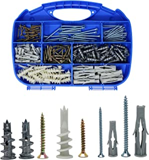 Orgrimmar Self Drilling Anchor Metal and Plastic Drywall Anchor Plasterboard Multi-Function Nylon Anchor Plug and Chipboard Screws Assortment Kit,220 Pcs