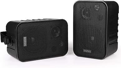 Bluetooth Speaker V4.1 AC Powered, Indoor/Outdoor Speakers Waterproof / Outside Patio Speakers, Durable for House Parties (Black-Pair) by Krohm