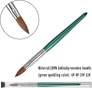 Green Sparkling Wood Kolinsky Oval Nail Brush Esung Brand High End Quality 100% Pure Kolinsky Hair Size 6,8,10,12 (#8)