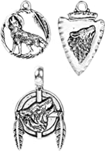 Wolf Charms 60 Pack, Native American Inspired DIY Jewelry or Crafts Wholesale Lot