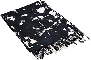 Black and White Tie Dye Shawl/Sarong/Scarf (70IN by 43IN)