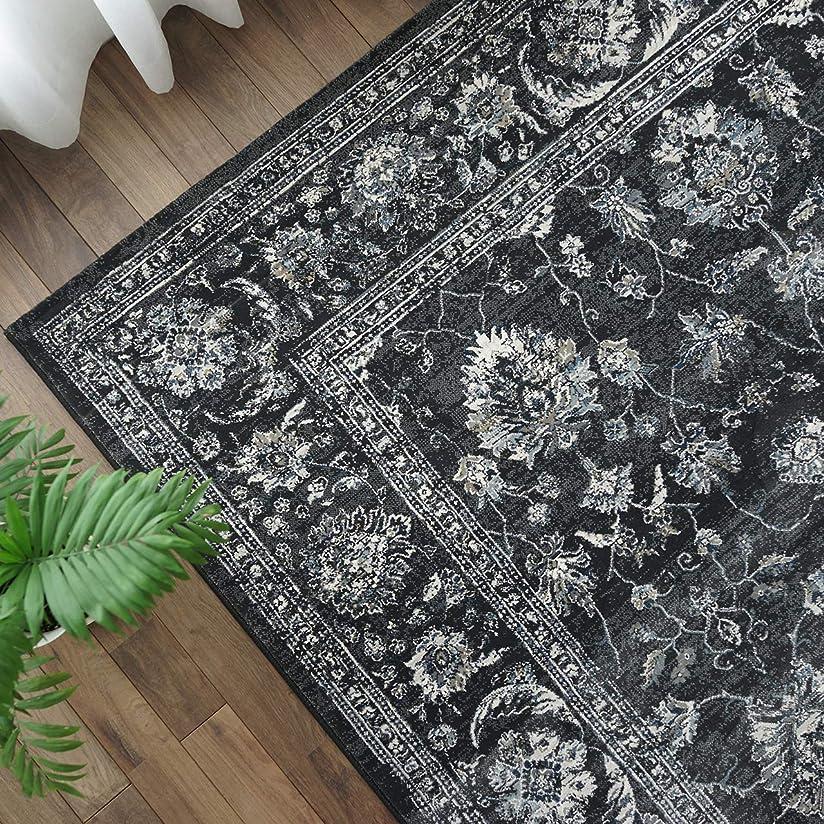 ブランチ家庭教師エンターテインメント豪華 高密度 ウィルトン織 ラグ カーペット 絨毯 ノーブルスタイルⅡ 200x200cm ブラック 2畳 ペルシャ柄 ベルギー製