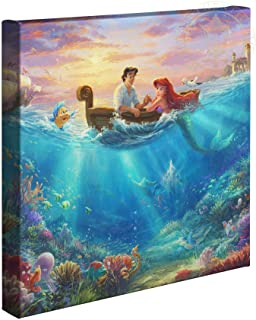 Thomas Kinkade Studios Disney Little Mermaid Falling in Love 14 x 14 Gallery Wrapped Canvas