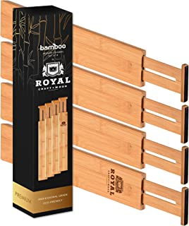 ROYAL CRAFT WOOD Adjustable Bamboo Drawer Dividers Organizers - Expandable Drawer Organization Separators for Kitchen, Dresser, Bedroom, Bathroom and Office, 4-Pack, 12.25-17.25 in