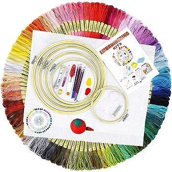 1 Kunststoff Stickrahmen Farbf/äden und Nadeln Stick Kit f/ür Anf/änger AK KYC 4 St/ück Stickerei Starter Kit mit Muster und Anleitung Tier Schere