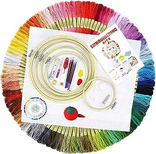 TOPSEAS Stickerei Set,Anf/änger Stickerei Set,Starter Kit mit 1 Stickrahmen,Stickgarn,3 Vorlage,1 Schere,1 Fingerhut,2 Einf/ädler,f/ür DIY Kunst,Handwerk,N/ähen