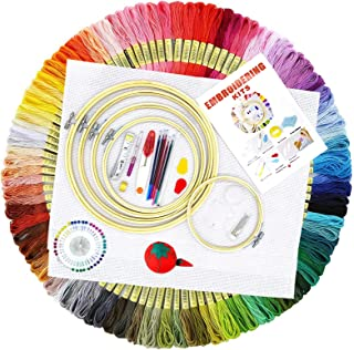 BOZHZO Kit de Broderie, Kit D'outils de Point de Croix Debutant, 100 Fil Multicolores 5 Tambour à Broder 3 Tissu Brodé ave...