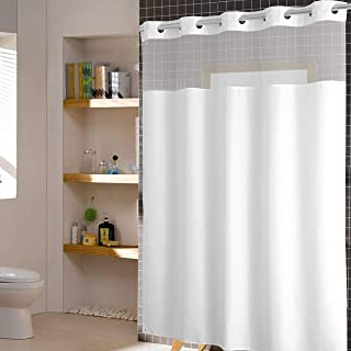 YUUNITY Avershine Sheer Shower Curtain Waterproof , 72 x 80 Inch Without Hook Bath Curtain with Light-Filtering Mesh Scree...
