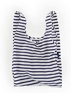 BAGGU Standard Reusable Shopping Bag, Ripstop Nylon Grocery Tote or Lunch Bag, Recycled Sailor Stripe