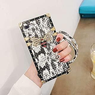 BABEMALL Compatible for iPhone 7 Plus/8 Plus Case, Elegant Snake Luxury Metal Corner Square PU Leather Classic TPU Bumper Slim Case + Lanyard (Snake White, for iPhone 7 Plus/iPhone 8 Plus)