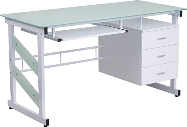 White Office Computer Desk With Frosted Glass Top And Three Drawer Pedestal
