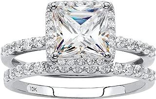 10K White Gold Princess Cut Cubic Zirconia Halo Bridal Ring Set