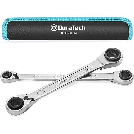 DURATECH ラチェットメガネレンチ 4-in-1 ストレート型 方向切替レバー付 72ギア CR-V鋼製 8x10x12x13mm 14x15x17x19mm 収納バッグ付属 2本組