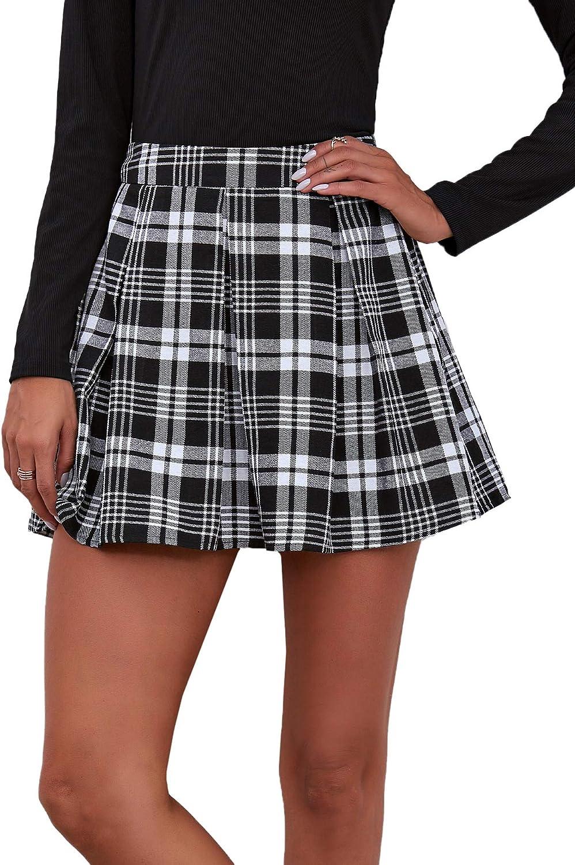 DIDK Women's Casual High Waist Plaid A Line Flared Mini Skater Skirt