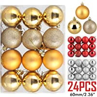 ZOGIN Assorted 24 Piece Christmas Ball Ornaments (60mm, Gold)