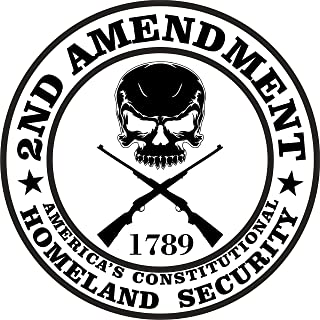 2-Pack 2nd Amendment - America`s Constitutional Homeland Security Round Bumper Sticker Decal | 4-Inch | RS100