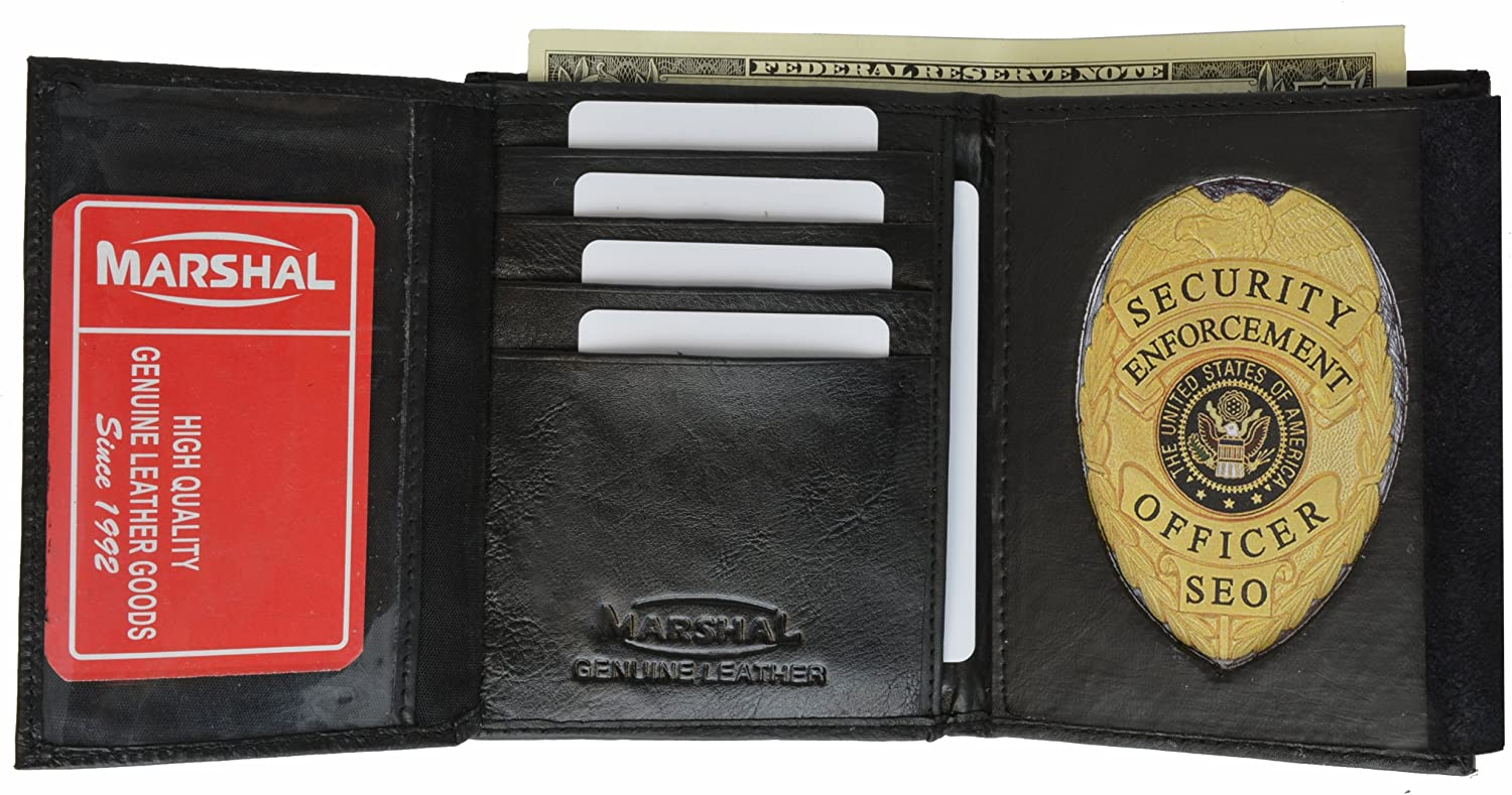 Marshal Tri Fold Police Wallet with Oval Badge Holder