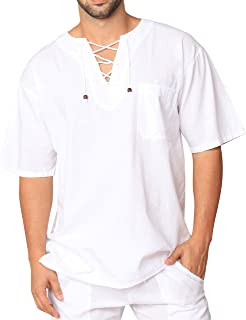 PURE COTTON Men's White Shirt 100% Cotton Casual Hippie Shirt V-Neck Drawstring Short Sleeve Beach Yoga Top