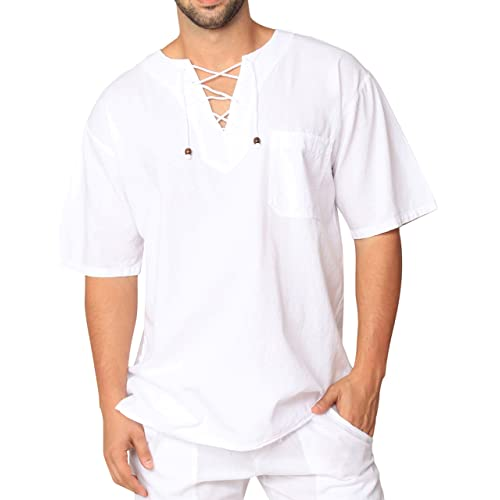 c19ab5a01ba PURE COTTON Men s White Shirt 100% Cotton Casual Hippie Shirt V-Neck  Drawstring Short