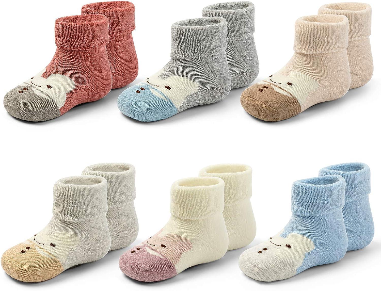 Baby Non Slip Warm Socks Baby Boys Thick Winter Socks with Grips for Baby Girls Non Skid Socks 6 Pack