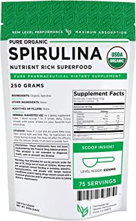 Spirulina Powder -USDA Organic -nonGMO -Pure Energy - Wholesale Prices! (250g (8.8oz))
