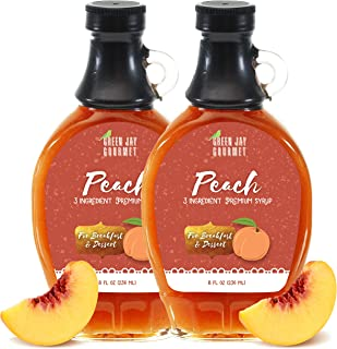 Green Jay Gourmet Peach Syrup – 3 Ingredient Premium Breakfast Syrup with Fresh..
