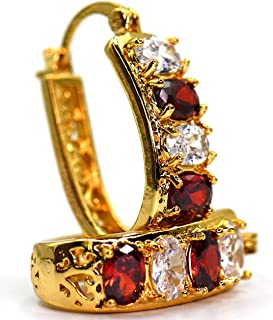 """1"""" Inch Beautiful Simulated Red Ruby CZ & White Crystal Accent Yellow Gold Filled Plated Base Dangle Hoop Drop Earrings, Leverback Closure"""