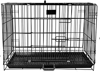 PSK Double Door Folding Metal Dog Cage with Paw Protector Black (36 Inch)