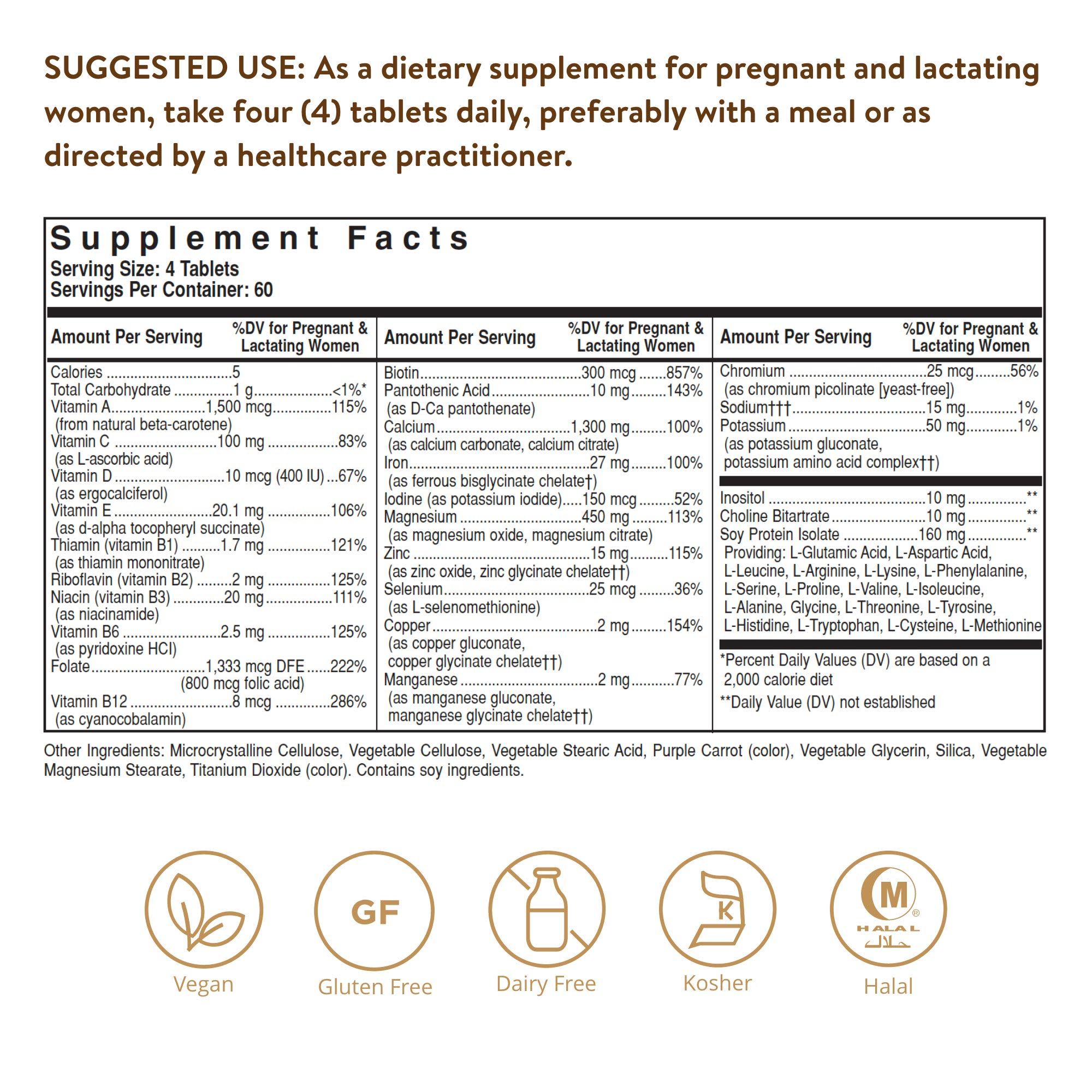 Solgar Prenatal Nutrients, 240 Tablets - Multivitamin & Mineral Formula for Pregnant & Lactating Women - Contains Zinc, Calcium Iron, Folic Acid, Vitamins C & E - Vegan, Gluten Free - 60 Servings