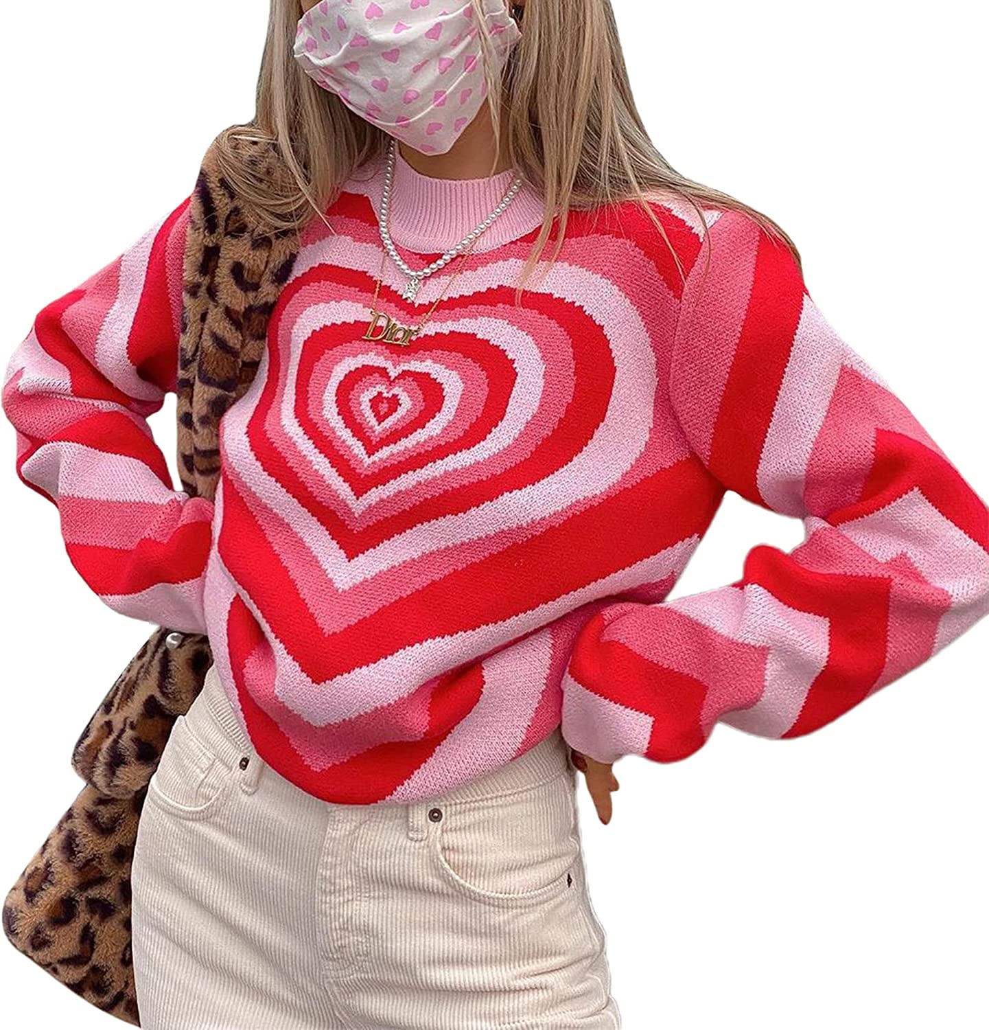 Women Girl Y2k Sweater Long Sleeve Graphic Check Knit Sweater Vintage Print Pullover Blouse 90s Street Wear