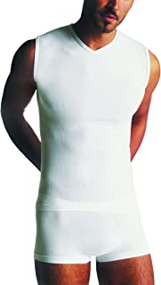 Undershirt Men's Ribbed V-Neck Seamless Microfiber Made in Italy