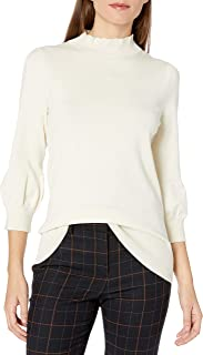 Lark & Ro Women's Three Quarter Balloon Sleeve Ruffle Mock Neck Sweater