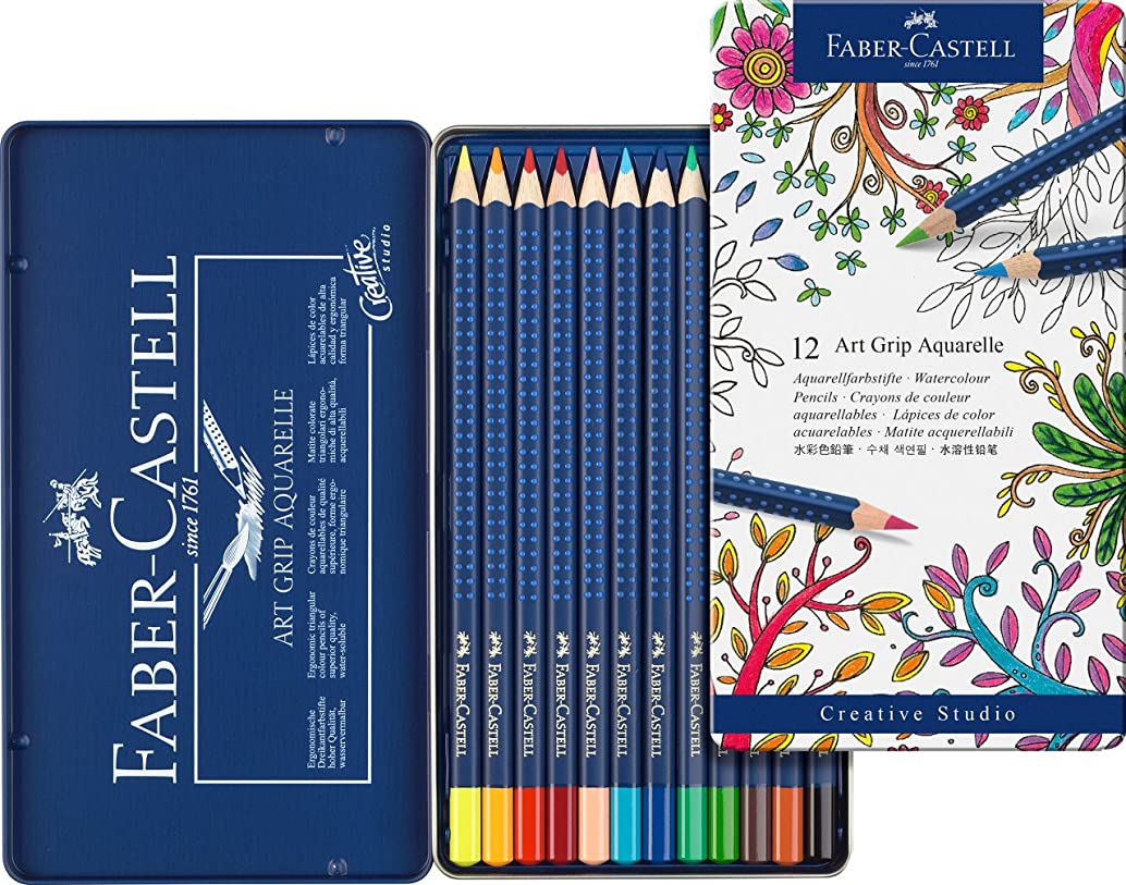 Faber-Castell Art GRIP Aquarelle Watercolor Pencils, tin of 12
