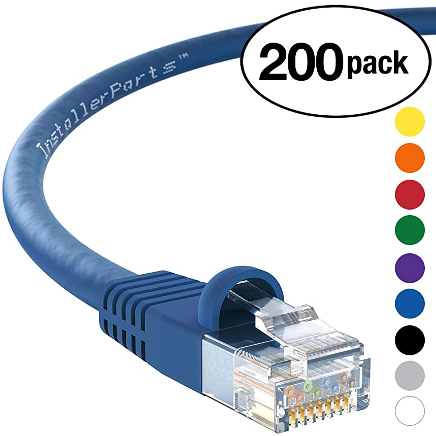 InstallerParts (200 Pack) Ethernet Cable CAT5E Cable UTP Booted 15 FT - Blue - Professional Series - 1Gigabit/Sec Network/Internet Cable, 350MHZ