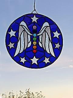 Vitral con el Símbolo del ángel y los 7 chakras | Vitral de protección | Fabricación artesanal | Cristales de color, cated...