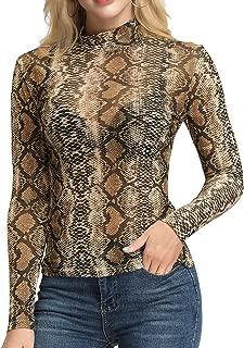 Women's Mesh Tops Long Sleeve Sheer Blouse Sexy Shirt High Neck Clubwear