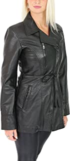 HOL Womens Genuine Leather Mid Length Jacket with Belt Slim Fit Casual Style Aby Black