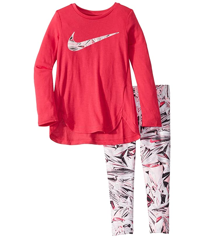 Nike Kids  Dri-FITtm Sport Essentials Long Sleeve Tunic and Leggings Two-Piece Set (Toddler/Little Kids) (Black) Girls Active Sets