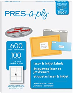 Pres-A-Ply 3-1/3 X 4 Inches Laser & Inkjet Shipping Labels, White, 600 Count (30604) made In Canada for The Canadian Market