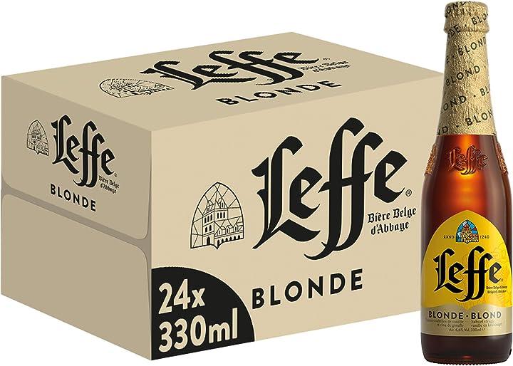 Birra leffe blonde- pacco da 24 x 330 ml - 6.6% alcool 53158
